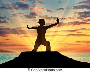 girl, silhouette, pratiquer, yoga