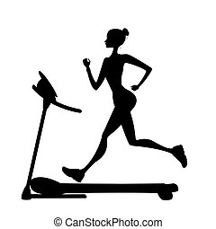 girl silhouette running on a treadmill