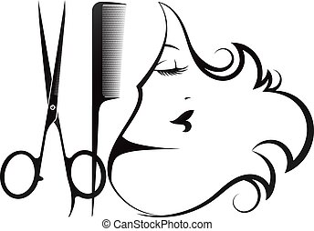 Girl silhouette scissors and comb