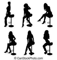 girl silhouette set on chair in black illustration