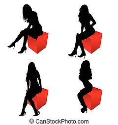 girl silhouette sitting on cube red set illustration