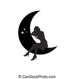 girl silhouette sitting on moon illustration