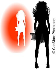 GIRL SILHOUETTE - A silhouette of a nice girl standing in...