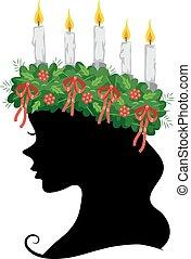 Girl Silhouette Sweden Saint Lucia Illustration