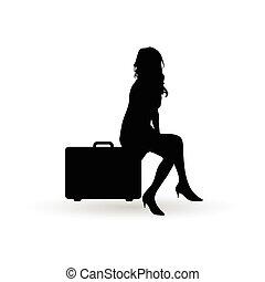 girl silhouette tavel bag illustration in black color