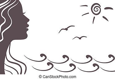 girl, silhouette, vacances
