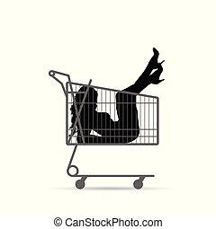 girl silhouette vector illustration in shopping basket