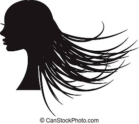 Girl silhouette with long flowing hair.