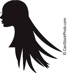 Girl silhouette with long hair.