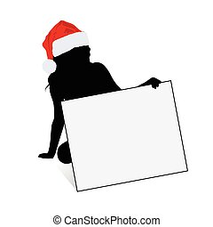girl silhouette with new year hat in red illustration