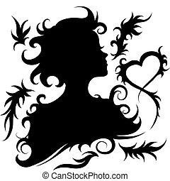 Girl silhouette with ornaments