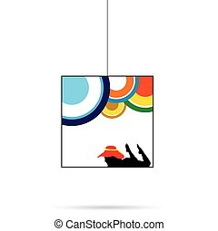girl silhouette with red hat black in cube illustration in colorful