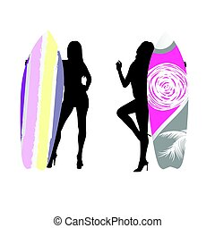 girl silhouette with surfboard color in hand illustration