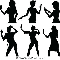 Girl silhouettes taking selfie with smart phone vector illustration