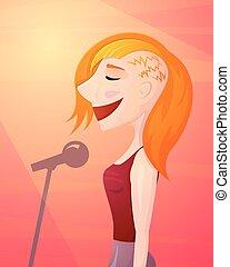 Girl singer singing, isolated vector illustration
