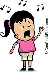 A cartoon girl singing.