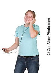 girl singing dancing with mp3
