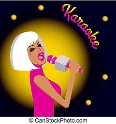 Girl singing in karaoke