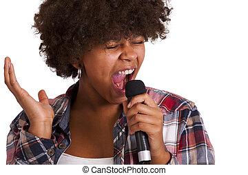 girl singing isolated on white