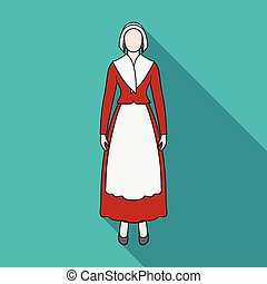 Girl, single icon in flat style.Girl, vector symbol stock illustration web.