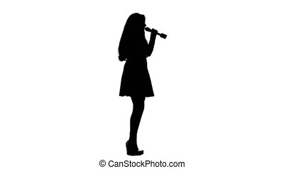 Girl sings incendiary songs. White background. Silhouette. Side view