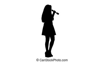 Girl sings incendiary songs. White background. Silhouette....