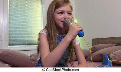 Girl sings karaoke