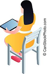 Girl sit on chair with tablet icon, isometric style