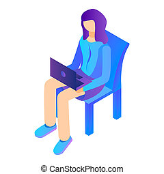 Girl sit with laptop on chair icon, isometric style