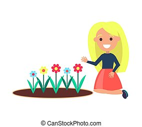 Girl Sits Near Flower Bed Vector Female on White - Girl...