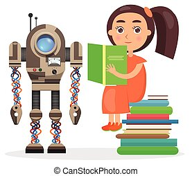 Girl Sits on Pile of Books and Reads Beside Robot