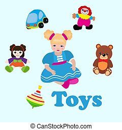 Girl sitting among toys. Colorful things in cartoon style for kids banner vector illustration. Childish design with doll, clown, bear, car for textile, fabric, wrapping paper.