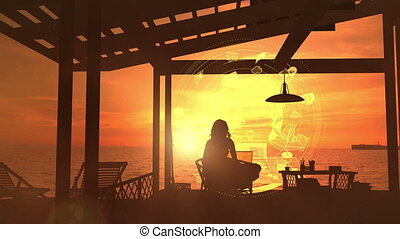 Silhouette of a girl sitting by the sea and working on a laptop on a background of infographics.