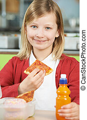 Girl Sitting At Table In School Cafeteria Eating Unhealthy Packe