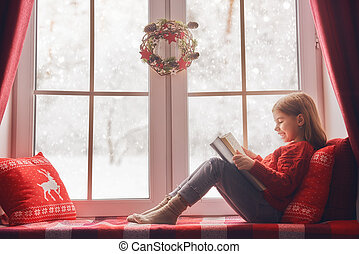 girl sitting by the window - Merry Christmas and happy...