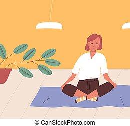 Girl sitting cross-legged on floor and meditating. Young ...