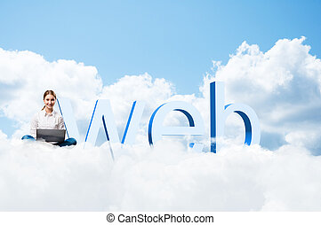 girl sitting cross-legged on the clouds