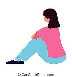 girl sitting floor