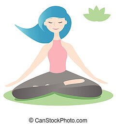 Girl sitting in lotus yoga pose