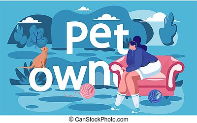 Girl sitting in the armchair Owner of the cat resting on the street. Woman is looking at the kitten