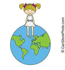 girl sitting on a globe of the worl