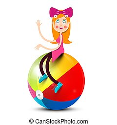 Girl Sitting on Colorful Beach Ball Isolated on White Background