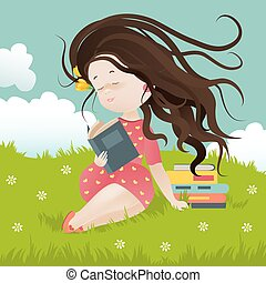 Girl sitting on grass reading a book