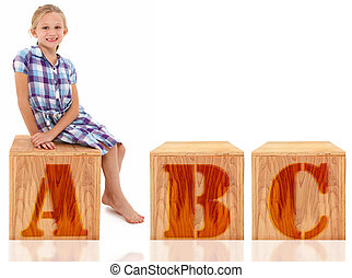 Girl Sitting on Letter A B C