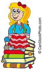 Girl sitting on pile of books