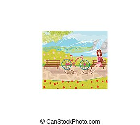 girl sitting on the bench in the park