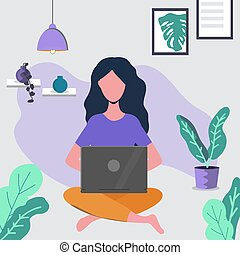 Girl sitting on the floor and working with laptop.