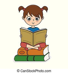 girl sitting on top of books reading