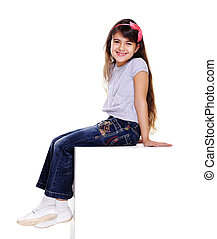 girl sitting side view on white