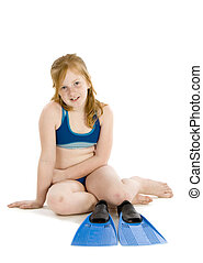 Girl sitting with her flippers